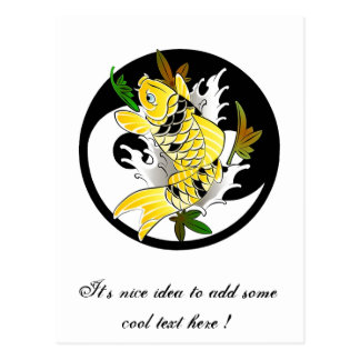 Cool Oriental Japanese Gold Koi Ying Yang tattoo Post Card