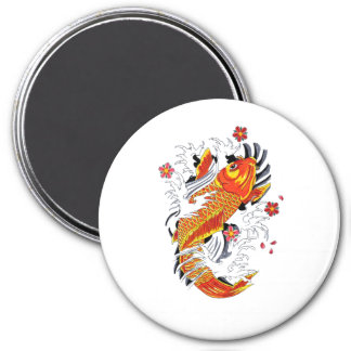 Cool Oriental Japanese Gold Lucky Koi Carp 3 Inch Round Magnet
