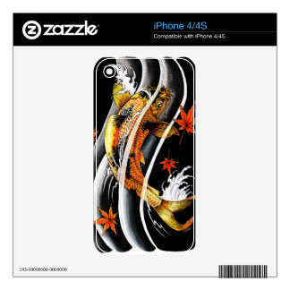 Cool oriental japanese Gold Lucky Koi Fish tattoo iPhone 4 Decals