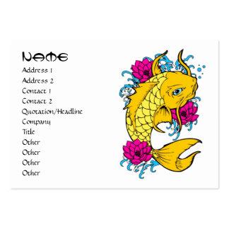Cool oriental japanese golden ink lucky koi fish business card