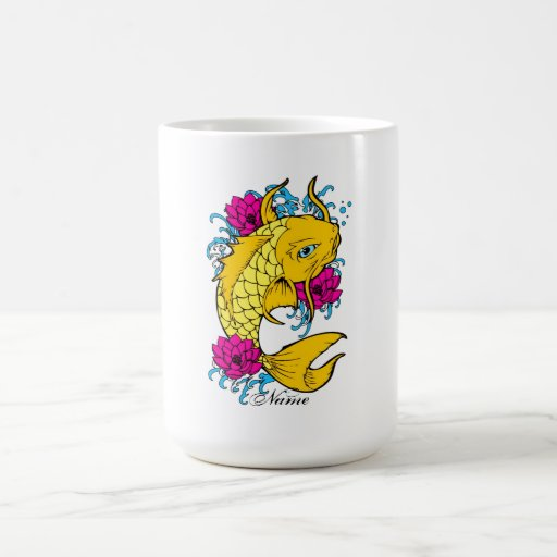 Cool Oriental Japanese Golden Koi Pink Lotus Classic White Coffee Mug