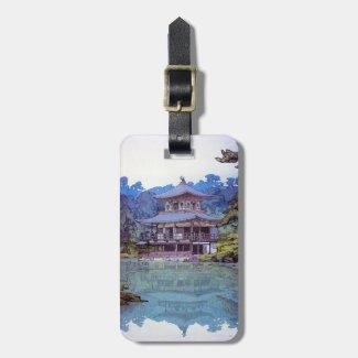 Cool oriental japanese Golden Pavilon Yoshida lake Tag For Bags
