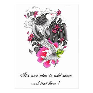 Cool Oriental Japanese Gray Koi Pink Lotus Petal Post Card
