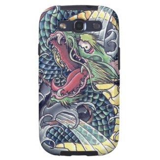 Cool oriental japanese green dragon god tattoo art samsung galaxy s3 cover