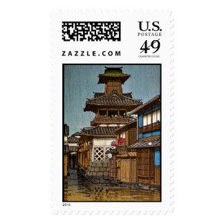 Cool oriental japanese Hasu Kawase rainy  village Stamp