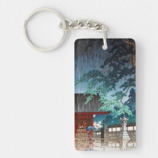 Cool oriental japanese Hasui Kawase rainy scene Keychain