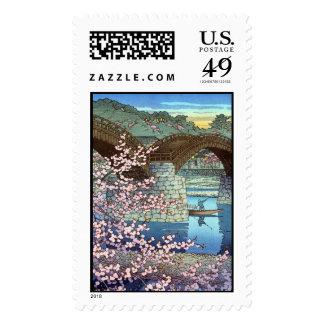 Cool oriental japanese Hasui kawase river bridge Postage Stamp