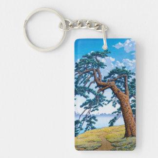 Cool oriental japanese Hasui Kawase tree art Keychain