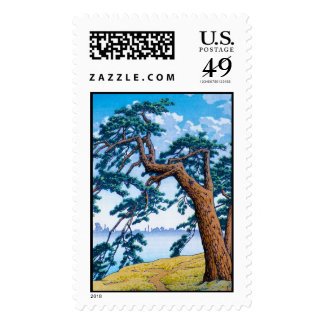 Cool oriental japanese Hasui Kawase tree art Stamps