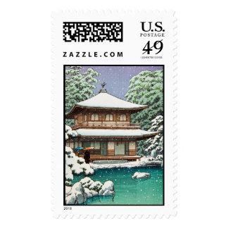 Cool oriental japanese Hasui Kawase winter scene Stamp