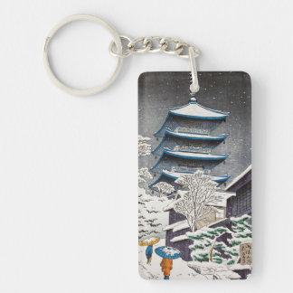 Cool oriental japanese Hasui Kawase winter scenery Keychain