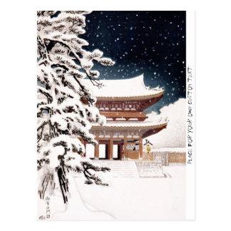 Cool oriental japanese Hasui Kawase winter scenery Postcard