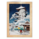 Cool oriental japanese hasui Kawase winter snow Greeting Cards