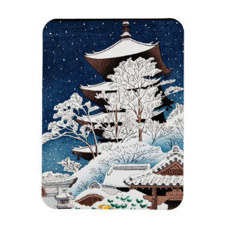 Cool oriental japanese hasui Kawase winter snow Magnet