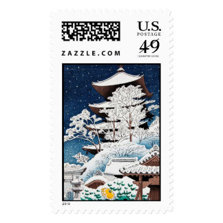 Cool oriental japanese hasui Kawase winter snow Postage Stamps
