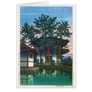 Cool oriental japanese Hasui  village tree art Card