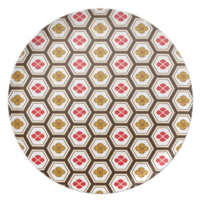 Cool oriental japanese hexagon shape flower plate