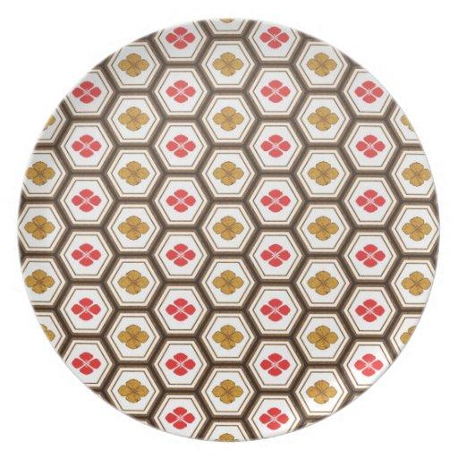 Cool oriental japanese hexagon shape flower plates