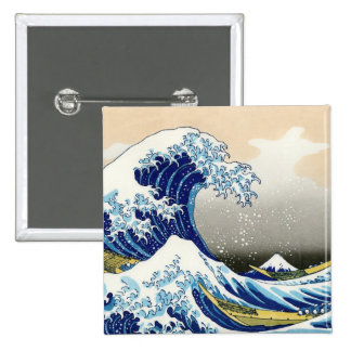 Cool oriental japanese Hokusai Fuji View landscape Pins