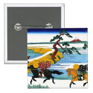 Cool oriental japanese Hokusai Fuji View landscape 2 Inch Square Button