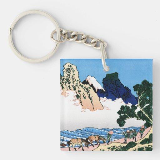 Cool oriental japanese Hokusai Fuji View landscape Acrylic Keychain