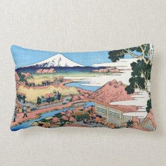 Cool oriental japanese Hokusai Fuji View landscape Pillow