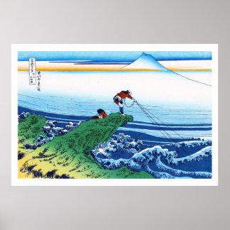 Cool oriental japanese Hokusai Fuji View landscape Poster