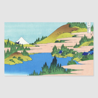 Cool oriental japanese Hokusai Fuji View landscape Rectangular Sticker