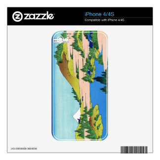 Cool oriental japanese Hokusai Fuji View landscape Decal For iPhone 4