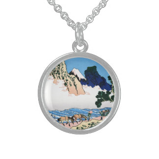 Cool oriental japanese Hokusai Fuji View landscape Sterling Silver Necklace