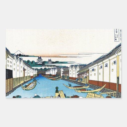 Cool oriental japanese Hokusai Fuji View landscape Rectangular Sticker