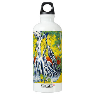 Cool oriental japanese hokusai Waterfall forest ar Aluminum Water Bottle