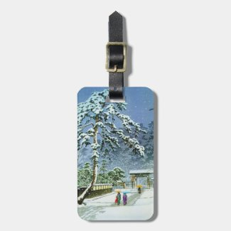 Cool oriental japanese honmonji temple in snow bag tags