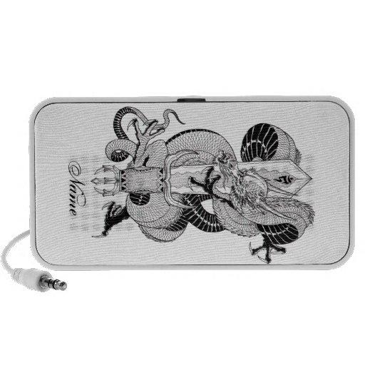 cool oriental japanese ink dragon sword tattoo portable speaker zazzle. Black Bedroom Furniture Sets. Home Design Ideas