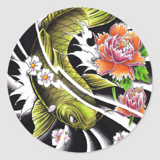 Cool oriental japanese ink lucky koi fish tattoo classic round sticker