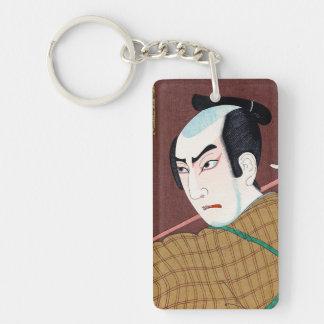 Cool oriental japanese kabuki actor classic art Double-Sided rectangular acrylic keychain