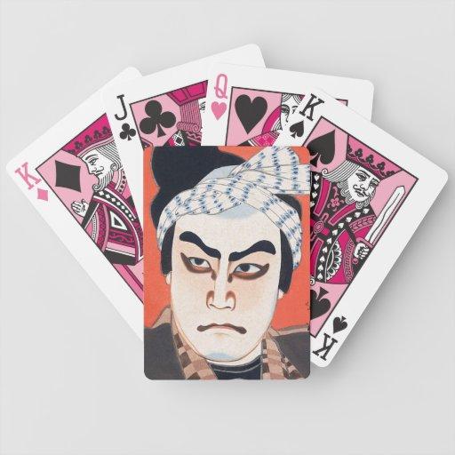 Cool oriental  japanese kabuki actor painting art bicycle playing cards