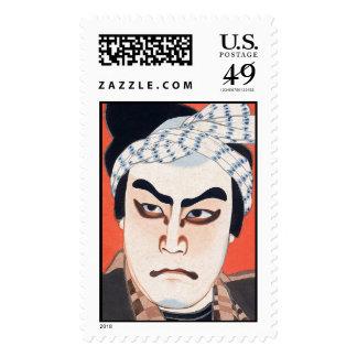 Cool oriental  japanese kabuki actor painting art postage