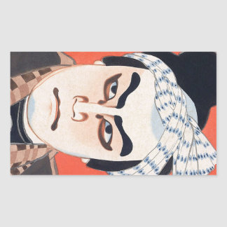 Cool oriental  japanese kabuki actor painting art rectangular sticker