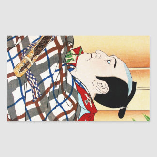 Cool oriental japanese Kabuki Actor Portrait art Rectangular Sticker
