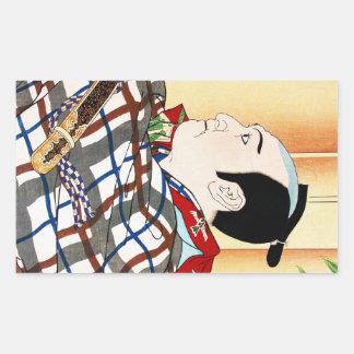 Cool oriental japanese Kabuki Actor Portrait art Rectangular Sticker