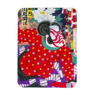 Cool oriental japanese kabuki samurai kunichika rectangular photo magnet