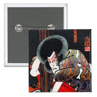 Cool oriental japanese kabuki warrior art pin