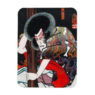 Cool oriental japanese kabuki warrior art rectangular photo magnet