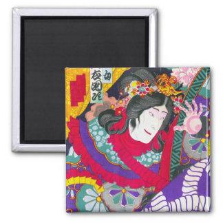 Cool oriental japanese kabuki woodprint art 2 inch square magnet