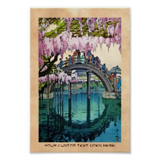 Cool oriental japanese Kameido Bridge Yoshida art Poster