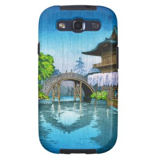 Cool oriental japanese Kameido Shrine lake rain Galaxy SIII Case