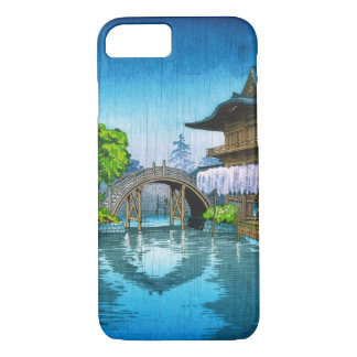 Cool oriental japanese Kameido Shrine lake rain iPhone 8/7 Case
