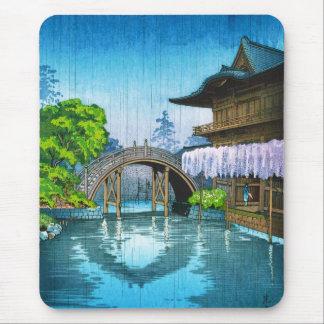 Cool oriental japanese Kameido Shrine lake rain Mouse Pad
