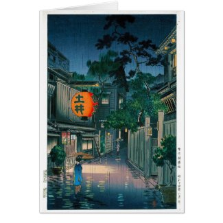Cool oriental japanese Kasamatsu night street rain Card